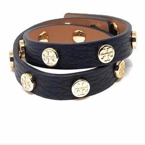 Tory Burch Double Wrap Logo Stud Bracelet Black OS